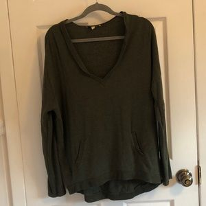 Express V-Neck Green Pocket Sweater Small